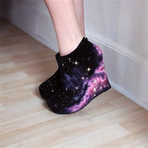 Wedges Pastel Series shoes galaxy print galaxy shoes high heels high heels