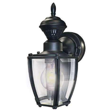 Motion Sensor Light Outdoor Shop Secure Home 11 In H Black Motion Activated Outdoor Wall Light At Lowes