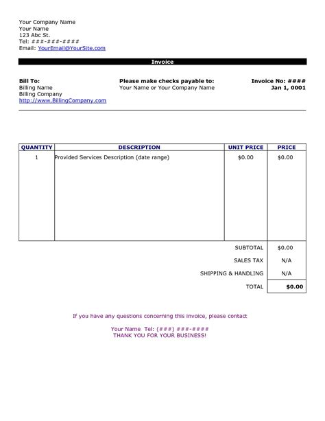 Basic Invoice Form Invoice Template Ideas Simple Invoice Template
