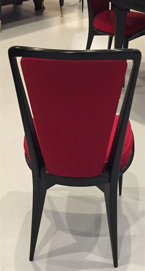 deco black lacquer dining chairs set of six for