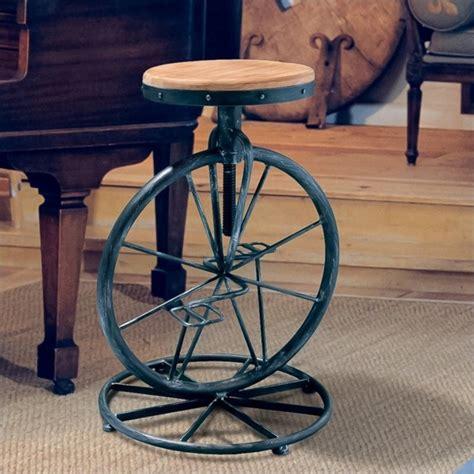adjustable bar stool on wheels davide bicycle wheel adjustable bar stool in natural