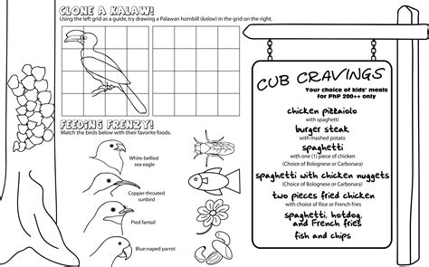 download menu coloring pages