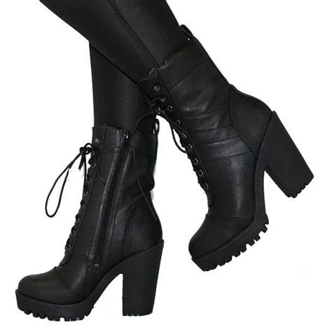 high heeled combat boots milly black high heel