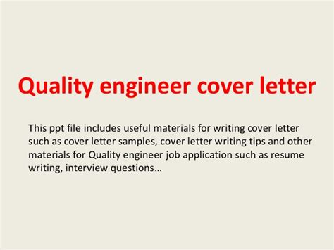 cover letter for quality engineer quality engineer cover letter