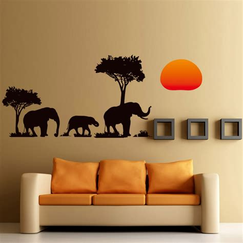 home decor stickers wall new arrival jungle tree elephant sunset