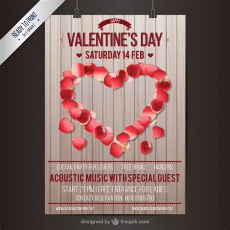 valentines day poster vector free