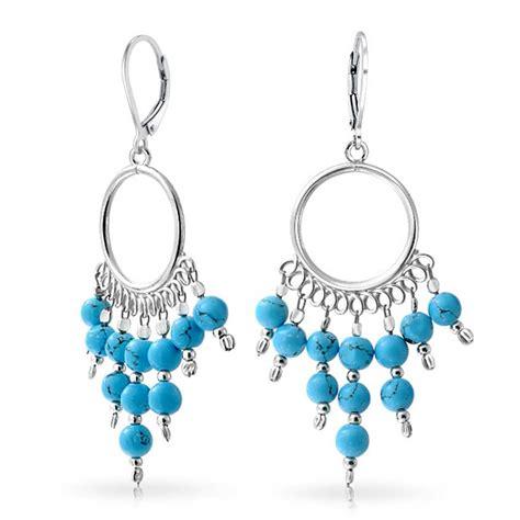 Chandelier Silver Earrings Sterling Silver Blue Beaded Chandelier Dangle Leverback Earrings