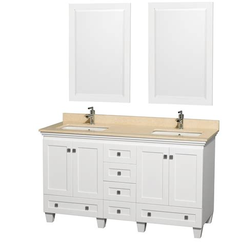 white bathroom vanity set acclaim 60 quot white bathroom vanity set counter options ivory white carrera