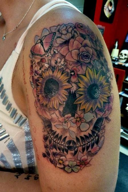 skull with flowers tattoo designs 99 gnarly skull tattoos that will make you gawk