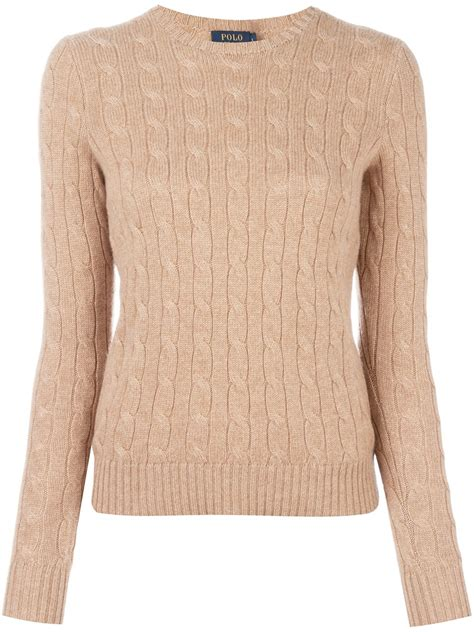 polo ralph cable knit jumper polo ralph cable knit jumper in brown lyst