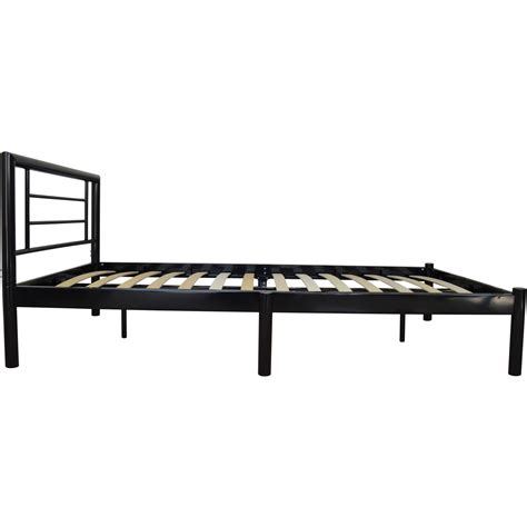 Single Metal Bed Frame Strong Wooden Slats In Black Metal Slat Bed Frame