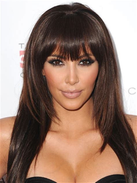 pictures best haircuts for long faces kim kardashian long face short 20 trendy long hairstyles with bangs for girls