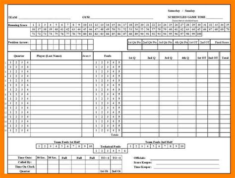 basketball score sheet template dh scorecard 23 best