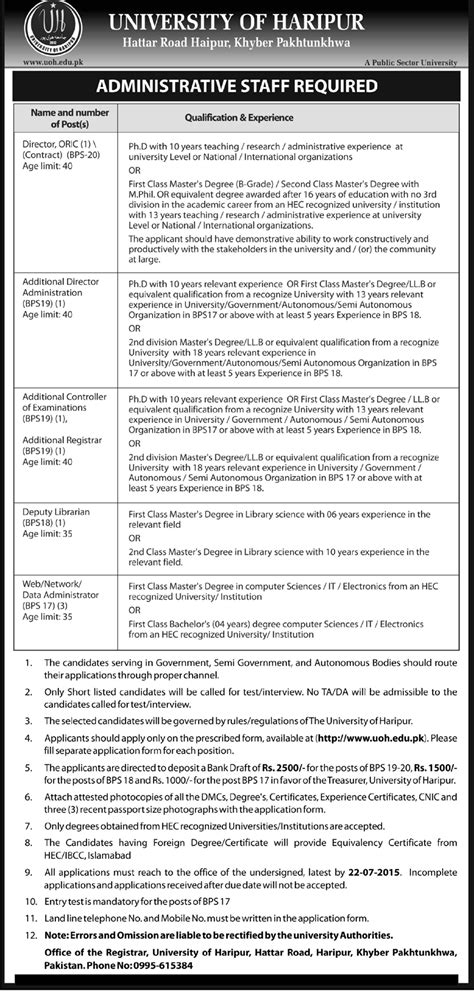 email kpk administrative jobs at university of haripur uoh kpk on 8