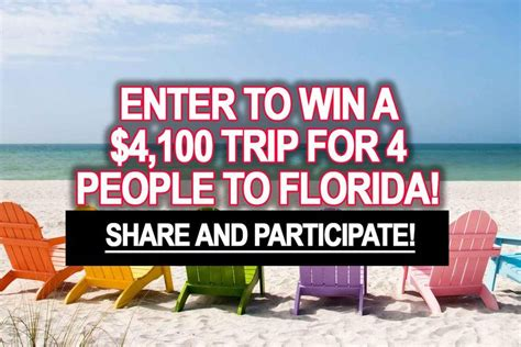 Sweepstakes Florida - sweepstakes enter to win a 4 100 trip for 4 people to florida