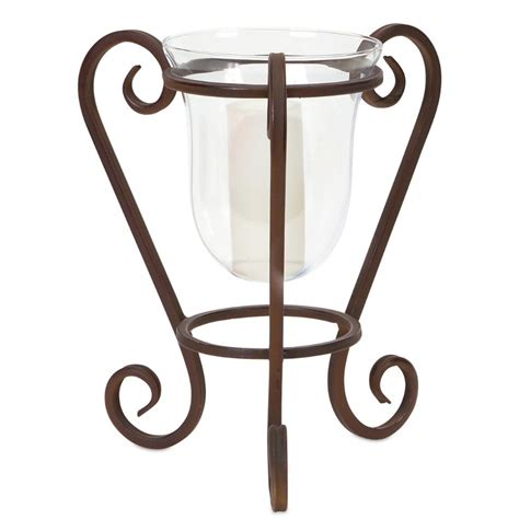 Candle Base Holders Hurricane Pillar Candle Holder With Metal Scrolled Base