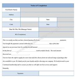 forms templates notice of completion form sle forms