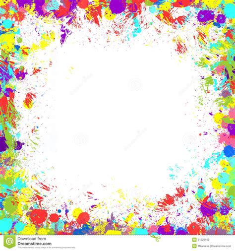cool white frame added colorful pictures as custom paint splatter border clipart