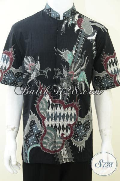 Koko Batik Elegan Mickot Hitam kemeja batik shanghai hitam kerah koko corak modern