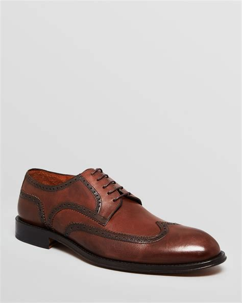 gordon leather wingtip dress shoes powell in brown