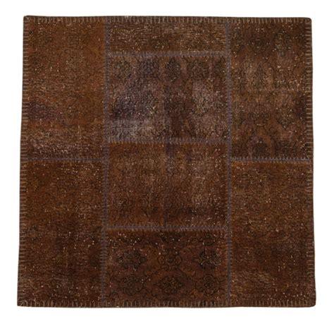 4x4 Rug brown rug vintage rug 4x4 ft square rug painted by theorientbazaar
