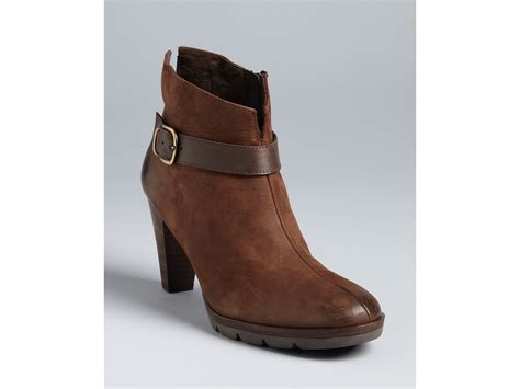 brown high heel booties paul green karla high heel booties in brown castagno lyst