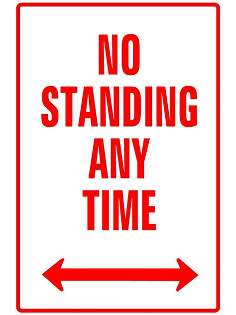 no standing any time metal sign 300 x 225mm no