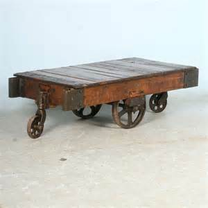 Antique Wheels For Coffee Table Antique Vintage Luggage Cart Coffee Table Circa 1920 With
