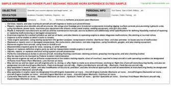Power Plant Mechanic Cover Letter airframe and power plant mechanic resume sle
