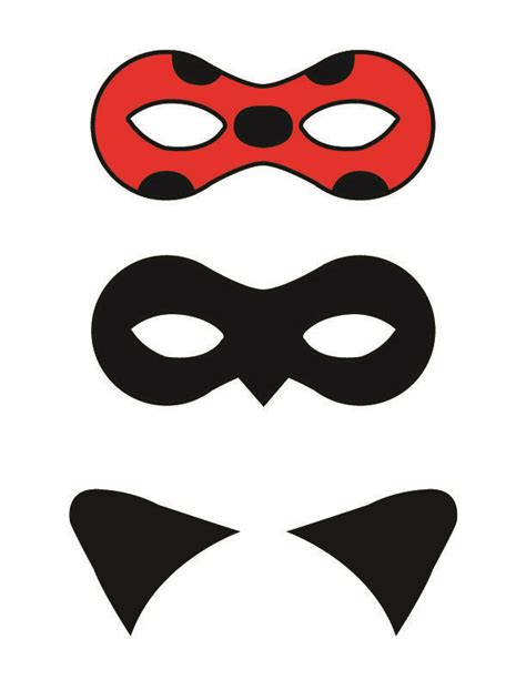 printable girl mask diy miraculous tales of ladybug and cat noir masks