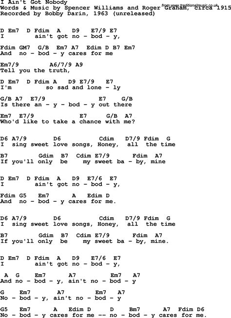 Song lyrics with guitar chords for I Ain't Got Nobody