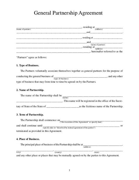 property partnership agreement template printable sle partnership agreement form real estate
