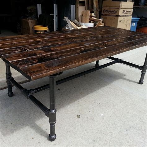 rustic coffee table with pipe base ebay