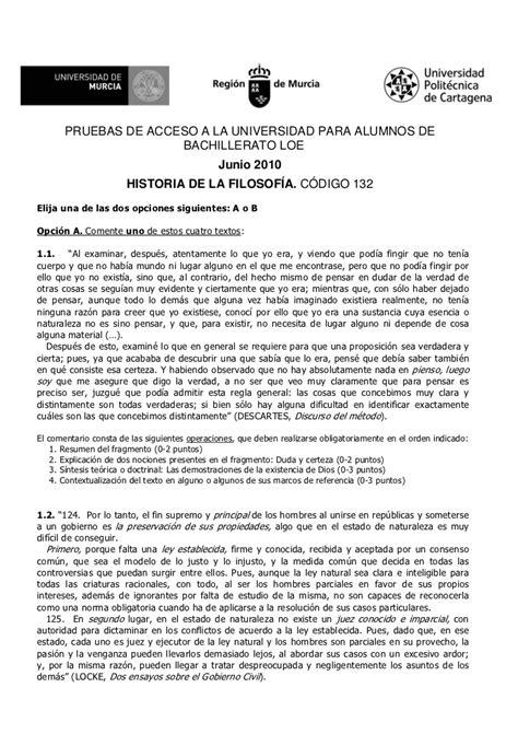 modelo de examen de selectividad resuelto descartes texto ex 225 men h 170 filosof 237 a pau murcia junio 2010