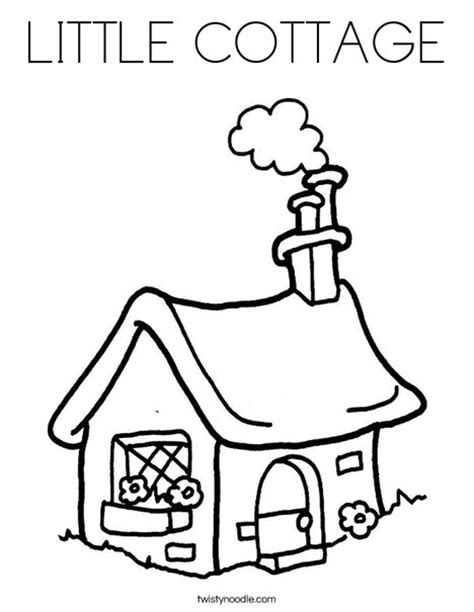 cottage house coloring page little cottage coloring page twisty noodle