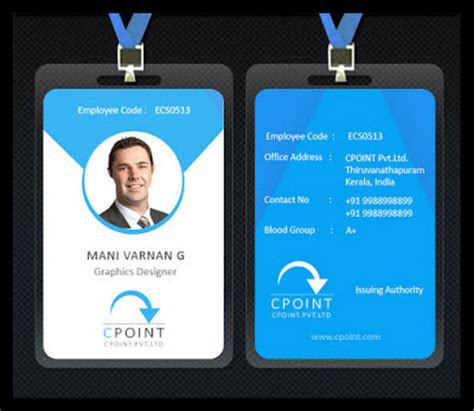 blue id card template employee id card idea i d card idea card
