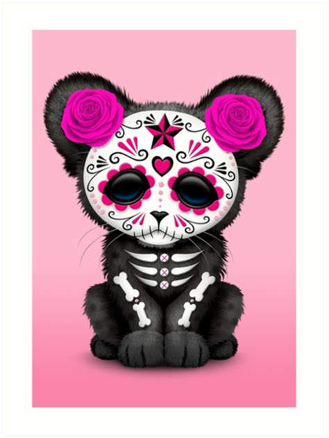 Animal Wall Stickers quot pink day of the dead sugar skull panther cub quot art prints