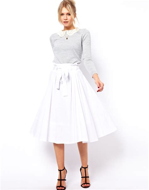 asos linen midi skirt with belt in white lyst