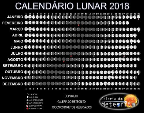 Calendario C Lua Calend 225 Lunar Galeria Do Meteorito