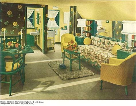 yellow and green living room 1940s decor 32 pages of designs and ideas from 1944 retro renovation
