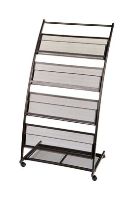 Mobile Display Rack by 4 Shelf Mobile Literature Display Rack