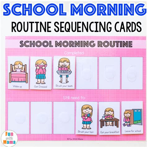 cards at school printable school morning routine cards with