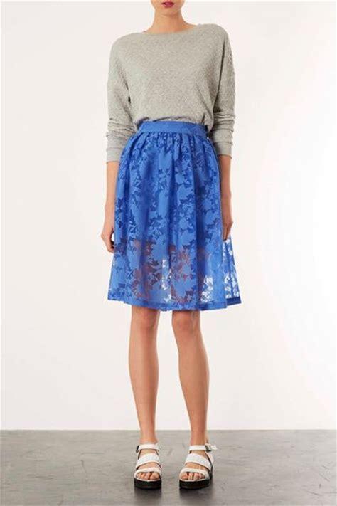 topshop blue burnout floral midi skirt in blue pale blue
