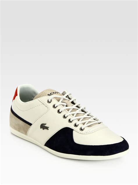 lacoste sneakers mens lacoste casual leather sneakers in black for white