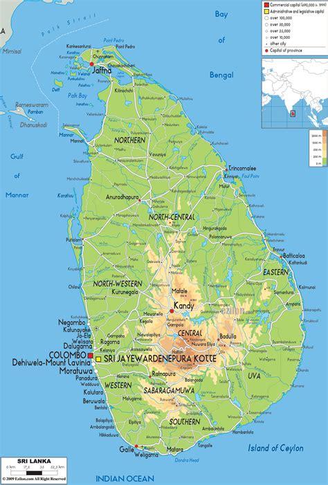 0004490967 carte routiere indian subcontinent physical map of sri lanka ezilon maps
