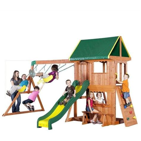 somerset wood swing set somerset wooden swing set by backyard discovery