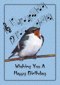 singing bird birthday card pastel by joyce geleynse