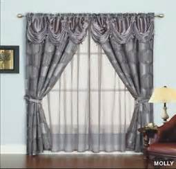 Curtain With Attached Valance Geometric Curtains Ebay