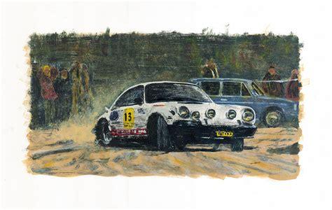 Kaos Print Umakuka Original Rally Car vintage rally porsche 1 painting by haas