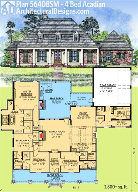 outdoor living floor plans plan 56408sm 4 bed acadian with generous outdoor living